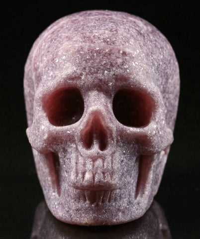 Lepidolite natural crystal skull