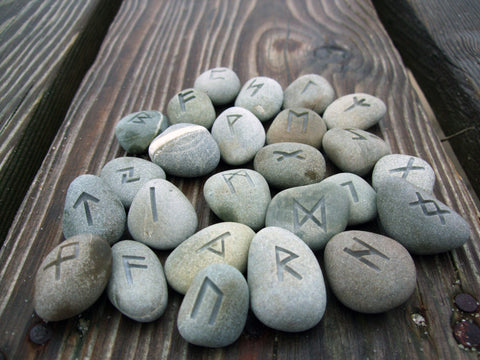 All Natural engraved Beach Stone Rune Set of 25 - Cast a Stone