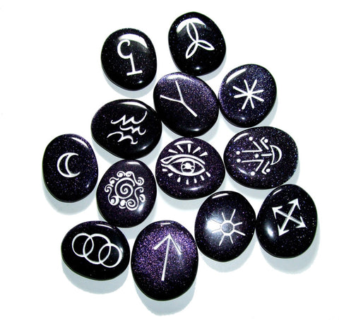 Back in Stock! Blue Goldstone Witch's Runes in Silver (set of 13) VERY LIMITED - Cast a Stone