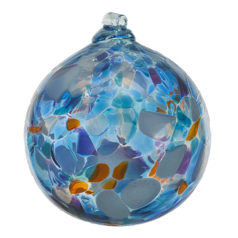 Calico Ball- Stormy Sea hand blown Art Glass Ornament