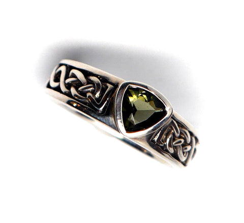Faceted Moldavite Celtic Band Ring