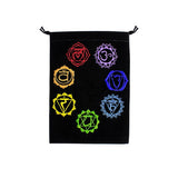 New! Embroidered 7 Chakra Velvet Bag for Crystals, Cards and more! - Cast a Stone