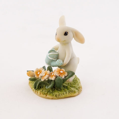Bunny Gardener Watering the Flower Bed Figure