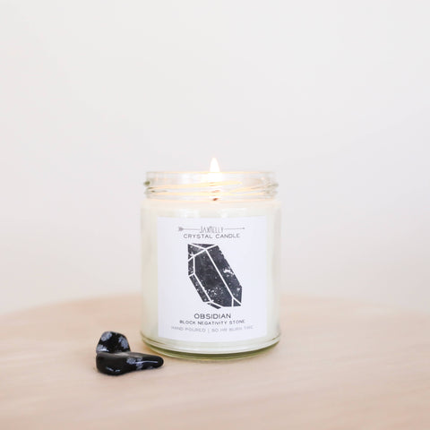 Obsidian Hidden Crystal Candle - Block Negativity