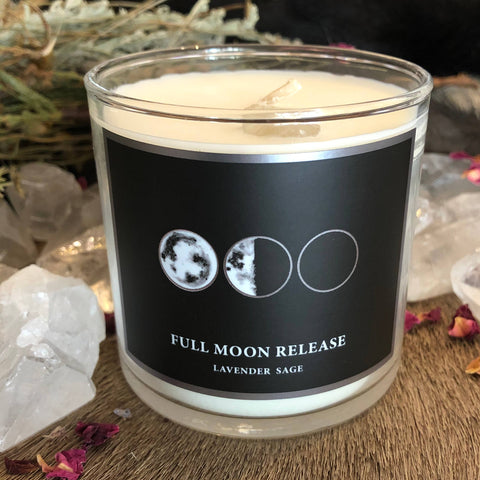 Full Moon Release 6oz Candle with Charged Crystal