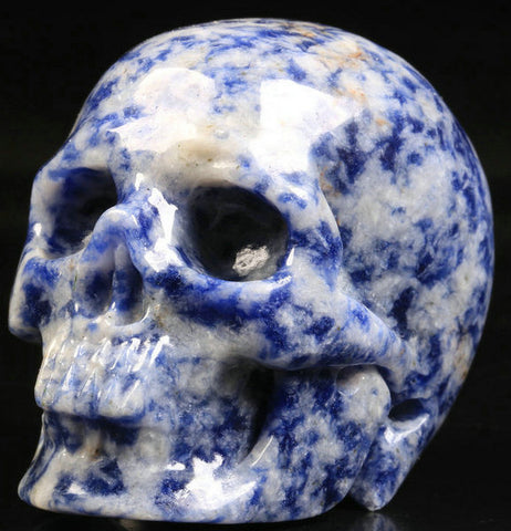 Blue Speckled Sodalite Natural Crystal Skull