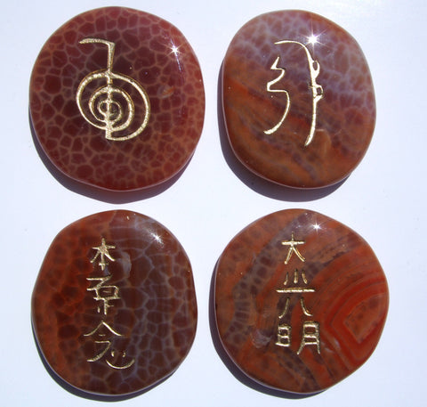 Fire Agate Reiki Stones© set of 4 - Rare! - Cast a Stone