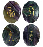 Clearance! XL Palm Sized Reiki Stones in Fluorite set of 4
