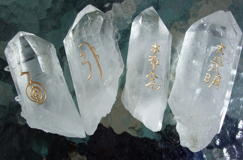 Natural Quartz Point Reiki Stones© set of 4 - Cast a Stone