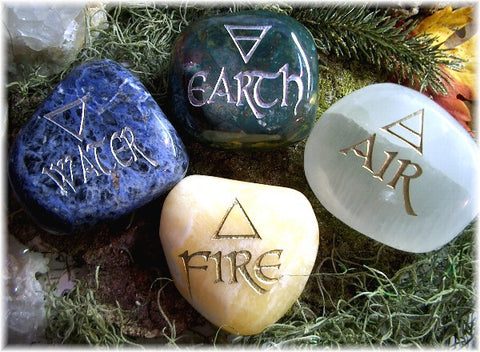 Elemental Direction Garden Stones© Earth, Air, Fire & Water with Elemental Colors & Symbols - Cast a Stone