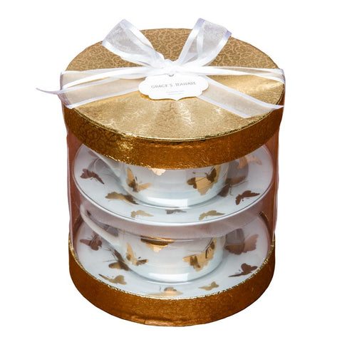 Hat Boxed Cups with Saucers Set, Gold Butterfly, Set of 2