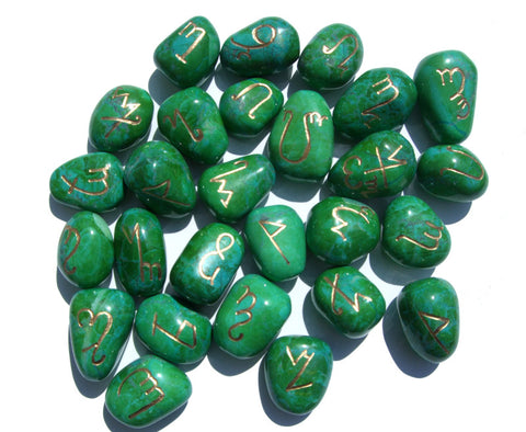 Gaia Green Theban Alphabet Runes LIMITED EDITION! - Cast a Stone