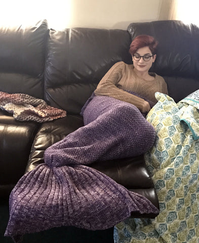 New! Sweater knit Mermaid Blanket! Choose your color!