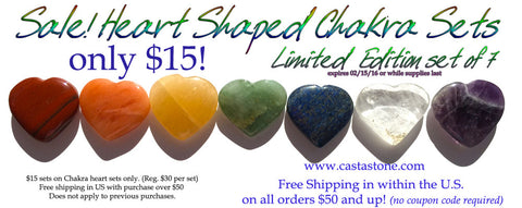 New! Heart Shaped Chakra Stones Balancing set of 7 - Cast a Stone