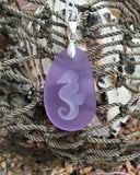 Seahorse of Patience and Determination pendant engraved Sea Glass Jewelry - choose your color - Cast a Stone