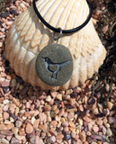 Lil' LoveBird with 3D heart - makes my heart sing - All Natural engraved Beach Stone Pendant with top drilled Bail