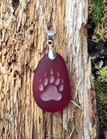 Bear Claw pendant - symbol of Courage, Power & Confidence engraved Sea Glass Jewelry - choose your color - Cast a Stone