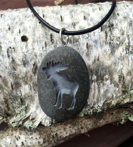 Moose - symbol of pride, life, and strength - All Natural engraved Beach Stone Pendant Jewelry
