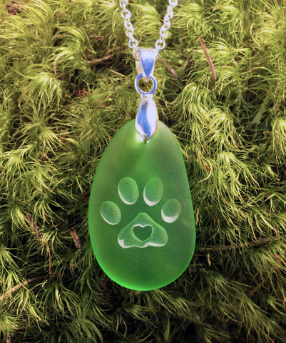 Puppy Love! Dog paw with 3D heart pendant engraved Sea Glass Jewelry- choose your color