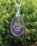 Kitten Love! Cat paw with 3D heart engraved Sea Glass pendant Jewelry- choose your color - Cast a Stone