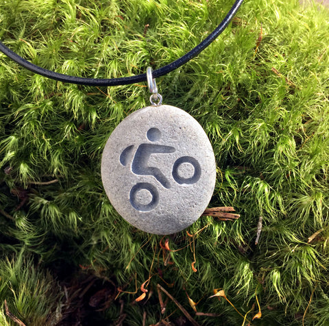 A Mountain biker's passion necklace - All Natural Engraved Beach Stone Pendant Jewelry - Cast a Stone