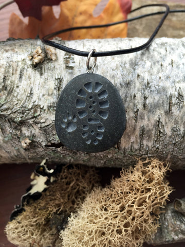 Hiking Boot and Dog Paw - Forever Adventuring Friends - Engraved Beach Stone Pendant Jewelry