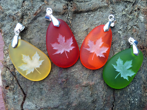 Fall Maple Leaves pendant - Reminder life is still Sweet- engraved Sea Glass Jewelry - choose your color - Cast a Stone