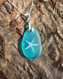 Starfish pendant- making a Difference, one at a Time - engraved Sea Glass Jewelry - choose your color - Cast a Stone