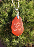 Om symbol pendant - Nature's first Breath necklace  - engraved Sea Glass Jewelry- choose your color - Cast a Stone
