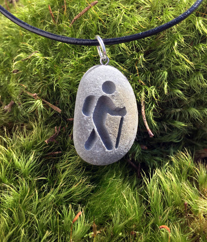 Hiker ahead! Hiking Lover's symbol necklace- Engraved Beach Stone Pendant Jewelry - choose Male or Female! - Cast a Stone