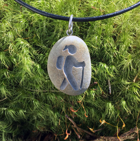 Hiker ahead! Hiking Lover's symbol- choose Male or Female! Engraved Beach Stone Pendant Jewelry - Cast a Stone