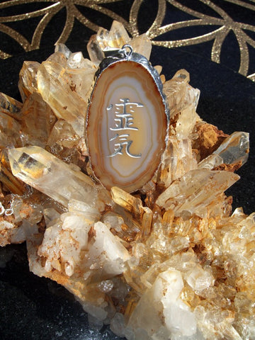 Natural Earthtones Agate Pendant engraved with Reiki Kanji symbol and sterling silver chain - Cast a Stone