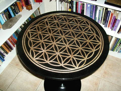 Flower of Life -fully engraved- Altar/Tarot Reading Table with Cast Iron base