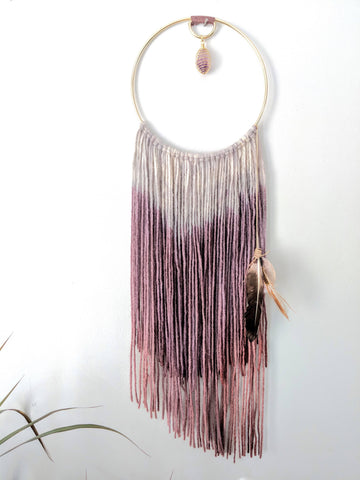 Modern Bohemian Wall Hanging with Amethyst