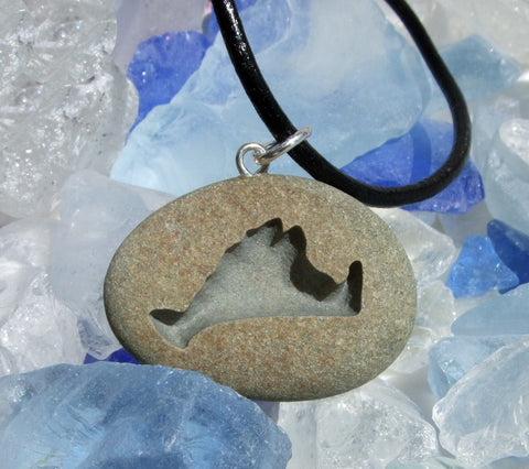Martha's Vineyard Island engraved Beach Stone Pendant - actual Island stone necklace - Cast a Stone