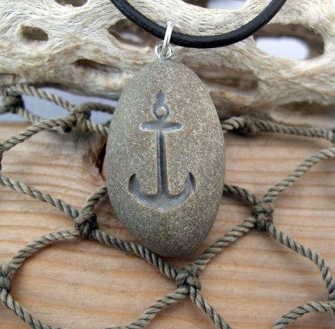 Anchor Away - Engraved Beach Stone Pendant - the Ocean Lover's necklace - Cast a Stone