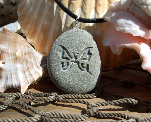 A Butterfly engraved Beach Stone Pendant - Symbol of Transformation necklace - Cast a Stone