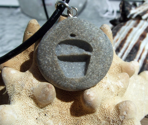Cupcake engraved Beach Stone Pendant  - a sweet tooth necklace