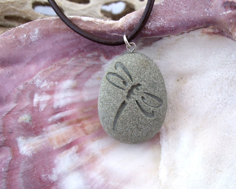 Dragonfly engraved Beach Stone Pendant - Symbol of Renewal, Positive force, Power of Life necklace