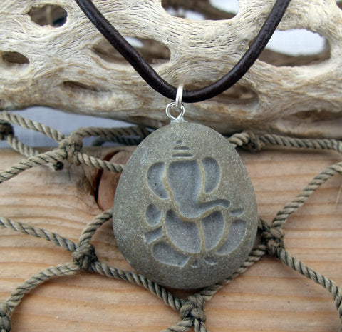 Ganesh - Lord of Good fortune talisman of positivity - engraved Beach Stone Pendant - Cast a Stone