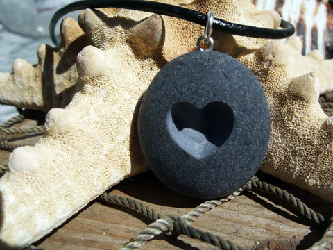 i Heart u - engraved Beach Stone Pendant - A lover of Love necklace - Cast a Stone