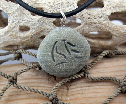 Horse Waves - engraved Beach Stone Pendant - A horse lover's Necklace - Cast a Stone