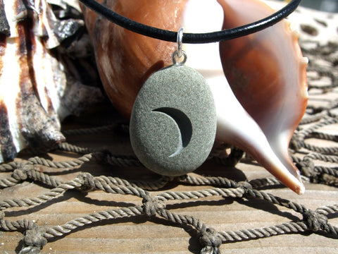New Moon rising - Engraved Beach Stone Pendant - optimism and new beginnings necklace - Cast a Stone