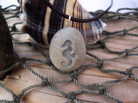 Seahorse of Patience and Determination - engraved Beach Stone Pendant - Cast a Stone