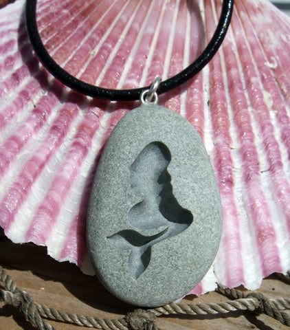 Gimme some tail - Pinup girl Mermaid  - Martha's Vineyard Beach Stone Pendant - Cast a Stone
