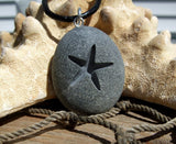 Starfish -Talisman of Travel over Water - Engraved Beach Stone Pendant - Star of the Sea necklace