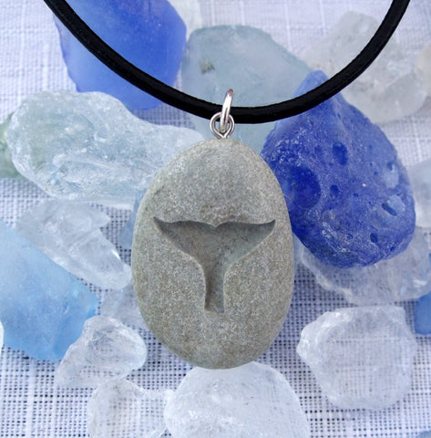 a Whale's Tail  - engraved Beach Stone Pendant - talisman of Freedom love and Joy necklace - Cast a Stone