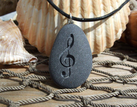 Treble Clef  symbol on engraved Beach Stone Pendant - G Clef Music note necklace - Cast a Stone