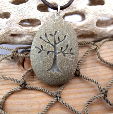 Tree of Life - Nature's Mother necklace - All Natural engraved Beach Stone Pendant Jewelry - Cast a Stone
