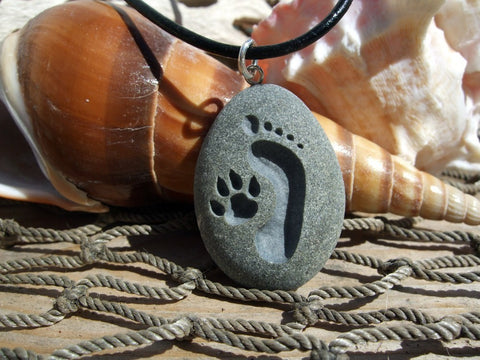 Footprint and Dog Paw Forever Friends - engraved Beach Stone Pendant - closest of bonds necklace - Cast a Stone